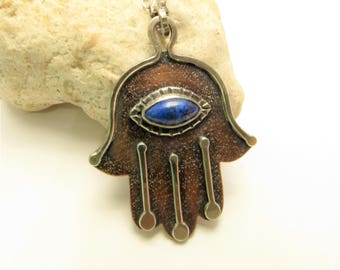 Hamsa Necklace, Lapis Lazuli, Copper And Sterling Silver Hamsa Pendant, Protective Hand Amulet, Hand Of Fatima, OOAK Mixed Metal Jewelry