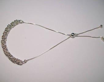 Adjustible Sterling Silver Byzantine Bracelet