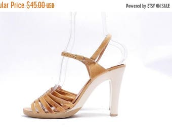 Summer Sale Size 8 1/2M // Vintage Made in Spain Light Brown Strappy Sandals// Women Slingback Shoes// 109