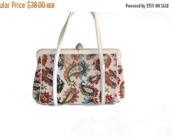 Summer Sale Vintage 60s Multicolor Paisley Carpet Bag // Tapestry Doctor Bag//  Small Purse // Carpet Handbag//  145