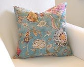 Botanical Breeze Pillow Cover, Cotton, Toss Cushion, Teal Blue, Floral, 18x18
