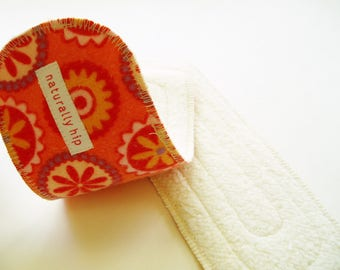 """Set of Two 8"""" Organic Hemp Fleece Wingless Panty Liners, Orange Coral Flower Medallion Circle, Cloth Menstrual Pads Incontinence Booster Pad"""