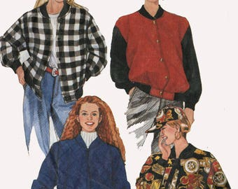 1990s Loose Fitting Bomber Jacket Varsity Jacket Letterman McCalls 6162 90s Sewing Pattern Size 6-8 Bust 31.5