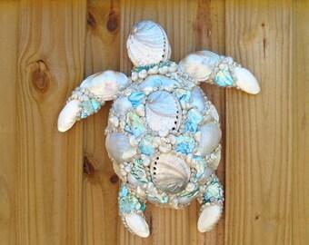 Sea Turtle Art Wall Hanging Sculpture with Seashells and Abalone, Coastal Beach Sea Life Tropical Decor, OOAKTurtle Art