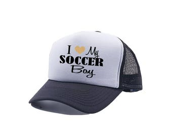Soccer Hat | Soccer Mom | Soccer Mom Hats | I Love My Soccer Boy | Soccer Trucker Hats | Trucker Hats | Black Trucker Hats