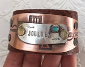 Turquoise Journey mixed metal leather cuff