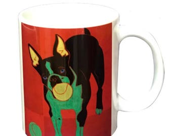 Boston Terrier Mug, Boston Terrier Coffee Cup Dog Lover Gift by Angela Bond