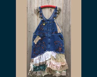 Custom Order for Jeanne - down payment on upcycled patchwork maxi dress - bib overall festival dress