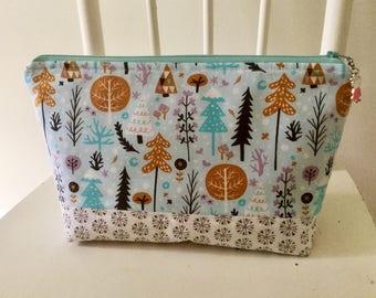 Forest project bag/ knitting project bag/ craft bag / cosmetics bag / multi-purpose bag