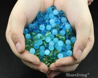 Clearance Sale -  LAST 200pcs Mixed Blue / Green Emerald Glass Beads  -- CLS006L