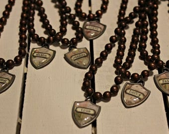 Shield Statement Necklace - RuSTy PeArLs - Lucky Faith Strong Shine Wander Brave True