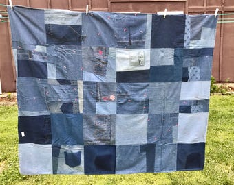 Quilt Throw Recycled Blue Jean Breast Cancer Awareness OOAK