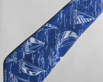 Nautical Sailboat Royal Blue Necktie with Free Gift Box, Nautical Tie, Boating Tie, Nautical Necktie, Gift for Dad, Sailing Tie, Teacher