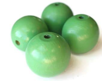 4 31mm Green Beads Large Hole Beads Round Beads Vintage Beads Wood Beads Wooden Beads Macrame Beads Beading Supplies Ball Beads Smileyboy