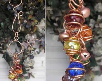 FLASH SALE Rainbow Dragonfly/Butterfly Copper Glass Wind Chimes / Gypsy Windchime Garden Art Suncatcher