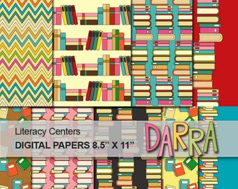 Library books background digital paper, commercial use / back to school printable scrapbook paper / instant download