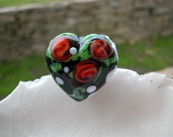 25mm Murano Glass Heart Bead