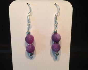 Dark purple agate earrings