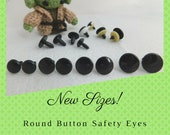 12 Pair 17mm or 24mm or 30mm Round Flat Black Disc Safety Eyes, Nose, Buttons, for Puppets, Teddy Bears, Dolls, Sew, Crochet, Crafts (RBE-1)