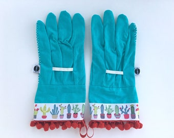 Designer Garden Gloves - Cute Cactus. Red Pom Poms. Gardening Outdoor Work Gloves.