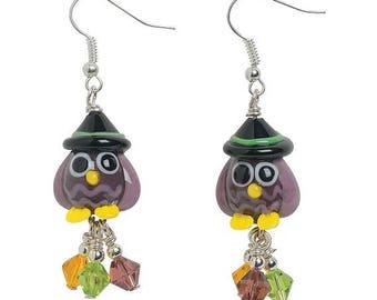 Owl Witch Lampwork Earrings