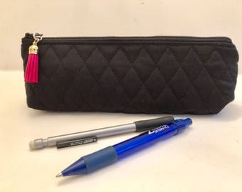 Black - Makeup Bag - Slim - Brush Bag - Pencil Pouch - Small Zippered Pouch - Padded Pouch - Quilted Fabric