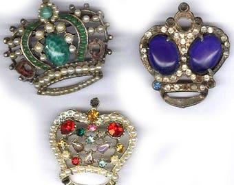 vintage rhinestone CROWN BOX LOT antique rhinestone repurpose bridal focal antique inspiration three assorted crown shapes
