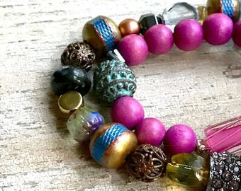 Bohochic Tribal Gypsy Beaded Bracelet Set, Bright Blue and Fuchsia For Her Under 250 One of a Kind, US Free Shipping