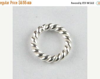 SHOP SALE 8mm Bright Bali Sterling Silver Twisted Rings, Closed Sterling Silver Jump Rings, Twist Ring Beads (10 beads)