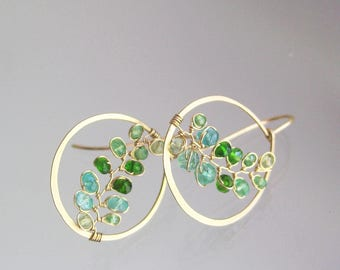 Small Green Gemstone 14k Gold Filled Hoops, Hand Wrought Vine Earrings with Tsavorite, Emerald, and Chrome Diopside