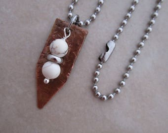 soothing natural magnesite necklace stainless steel copper