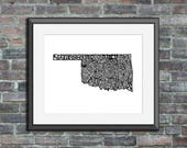 Oklahoma typography map a...