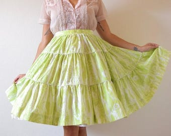 SALE SECTION / 50% off Vintage 50s 60s Lime Green and White High Waisted Tiered FULL Cirlcle New Look Skirt (size small)