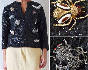 SUMMER SALE/ 30% off Vintage 50s 60s Black Sequined Cardigan with Jeweled Bug Brooch Collection (size small, medium)