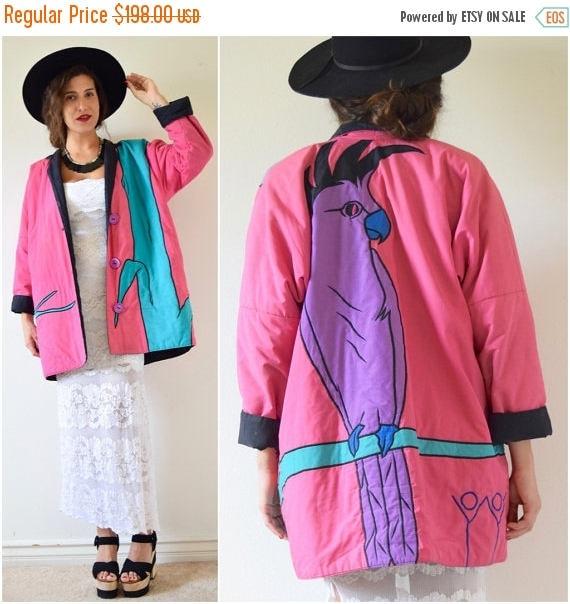 SUMMER SALE/ 30% off Vintage 80s 90s Cockatoo Applique Reversible Oversized Jacket