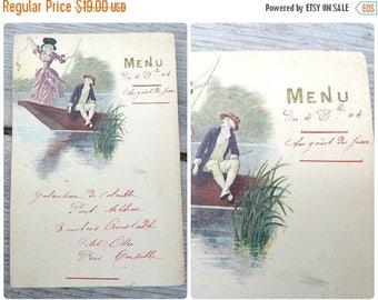 ON SALE Vintage Antique 1904 French  paper hand written Menu  Au gout du Jour