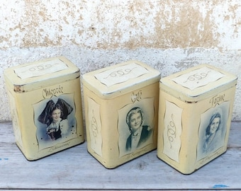 ON SALE Vintage Antique 1930  French tin box set of 3 canisters regionalist women portraits