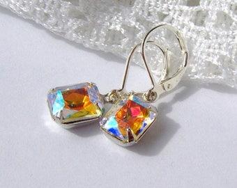 SALE Aurora Borealis Rhinestone earrings / rainbow rhinestone / gift for her / leverback / Hollywood glam / estate style / vintage style / b