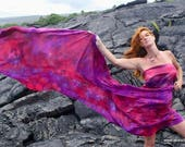 Belly dance costume silk veil blended shades of fuschia red purple MADE to ORDER