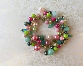 Beaded charm bracelet, green, pink, beaded bracelet, handmade, french jewelry , chunky bracelet, boho bracelet, FREE SHIPPING