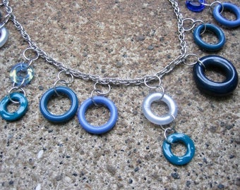 Eco-Friendly Statement Necklace  - Waterfall - Recycled Vintage Rope Chain with a Cascade of Dangling Hoop Beads in Different Shades of Blue