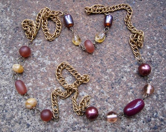 Eco-Friendly Statement Necklace - Escapade - Recycled Vintage Double Link Brass Chain and Beads in Brown, Ginger, Honey and Pale Gold