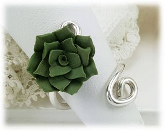 Succulent Adjustable Silver Wrap Ring - Succulent Jewelry