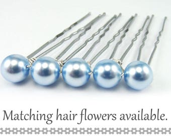 Blue Pearl Hair Pins - 8mm Light Sapphire Swarovski Pearls (5 qty) - FLAT RATE SHIPPING