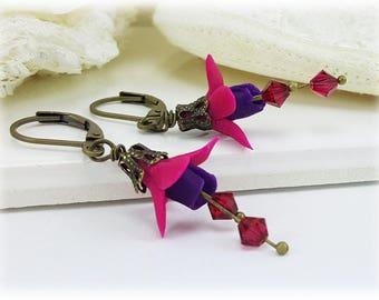 Fuchsia Flower Earrings - Pink Fuchsia Flower Jewelry, Pink and Purple Fuchsia Flowers