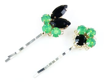 Pastel Green Vintage Style Hair Pins - Opal Green Rhinestone Bobby Pins, Opal Green Hair Jewelry, Pastel Hair Ornaments