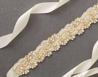 Gold Pearl Bridal Sash | Crystal Wedding Belt | Gold Rhinestone Sash | Beaded Bridal Belt [Opal Sash]