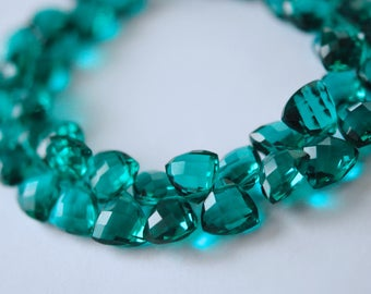 Gorgeous aqua green colored hydro quartz faceted triangles