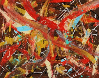 """Roads to Nowhere - Abstract Painting - By Metro the Painting Racehorse and Wendy 11x14"""""""