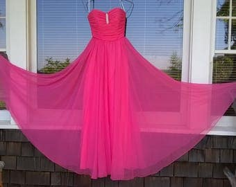 Mike Benet Formals 60s 70s Pink Chiffon Sleeveless Gown, Sz 6, Summer Fun, Plan Ahead Prom, Homecoming, Pretty in Pink